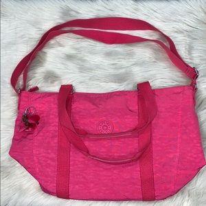 Hot pink Kipling crossbody tote bag